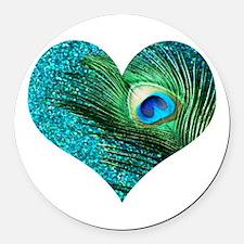 Aqua Peacock Heart Round Car Magnet