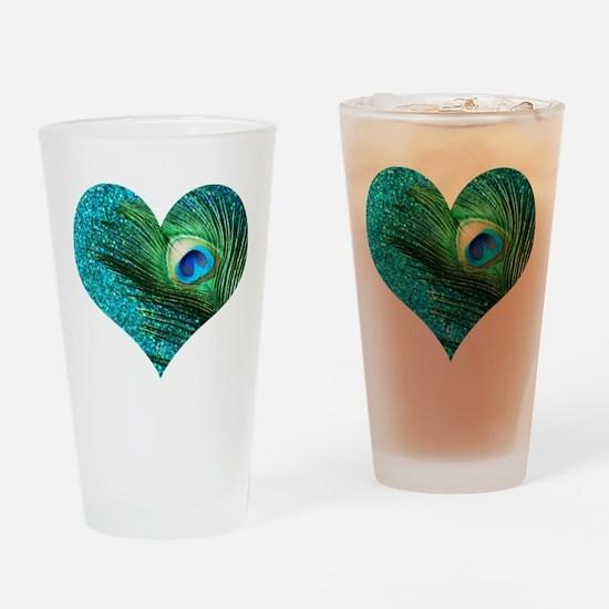 Aqua Peacock Heart Drinking Glass