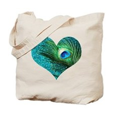 Aqua Peacock Heart Tote Bag