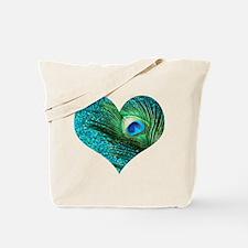 Aqua Peacock Heart Tote Bag
