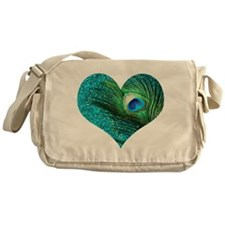 Aqua Peacock Heart Messenger Bag