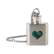 Aqua Peacock Heart Flask Necklace