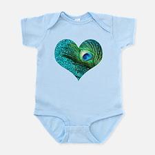 Aqua Peacock Heart Infant Bodysuit