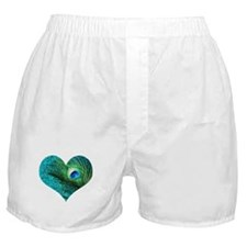 Aqua Peacock Heart Boxer Shorts