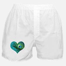 Aqua Peacock Heart Boxer Shorts