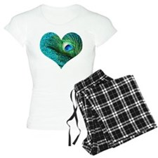 Aqua Peacock Heart Pajamas