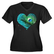 Aqua Peacock Women's Plus Size V-Neck Dark T-Shirt
