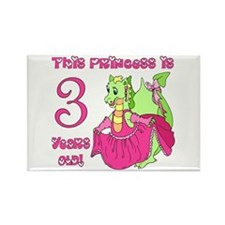 Princess is 3 Years Rectangle Magnet
