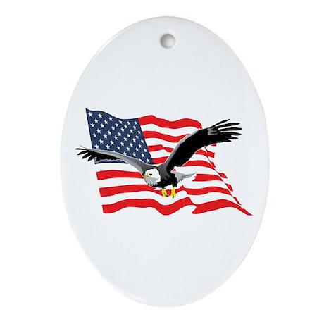 Bald Eagle and US Flag v2 Oval Ornament