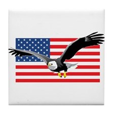 Bald Eagle and US Flag Tile Coaster