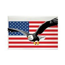 Bald Eagle and US Flag Rectangle Magnet