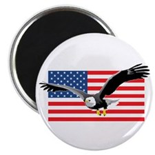 "Bald Eagle and US Flag 2.25"" Magnet (10 pack)"