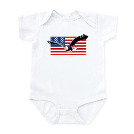 Bald Eagle and US Flag Infant Bodysuit