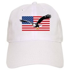 Bald Eagle and US Flag Baseball Cap