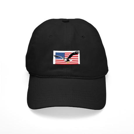 Bald Eagle and US Flag Black Cap