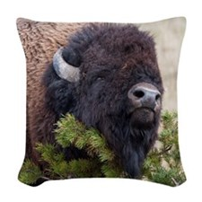 Christmas Bison Woven Throw Pillow