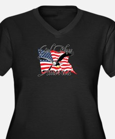 God Bless America v4 Women's Plus Size V-Neck Dark