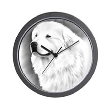 Great Pyrenees Charcoal Portrait Wall Clock