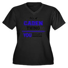 Cute Caden Women's Plus Size V-Neck Dark T-Shirt