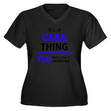 Funny Cara Women's Plus Size V-Neck Dark T-Shirt