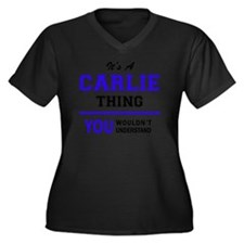 Funny Carlie Women's Plus Size V-Neck Dark T-Shirt