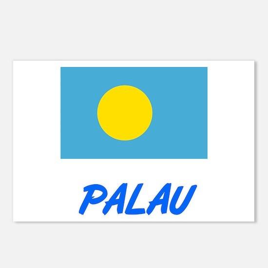 Palau Flag Artistic Blue Postcards (Package of 8)