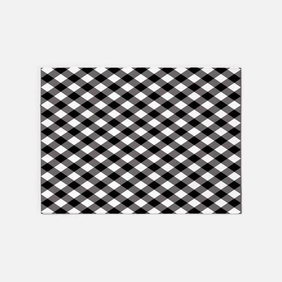 Black Plaid 5'x7'Area Rug