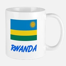 Rwanda Flag Artistic Blue Design Mugs