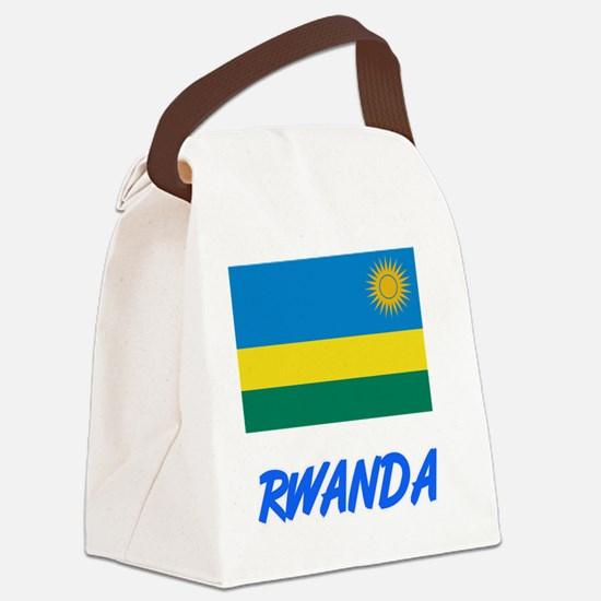 Rwanda Flag Artistic Blue Design Canvas Lunch Bag