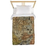 Antique world map Twin Duvet Covers
