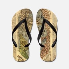 World Map Vintage Atlas Historical Flip Flops
