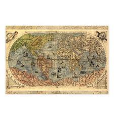 World Map Vintage Atlas Historical Postcards (Pack