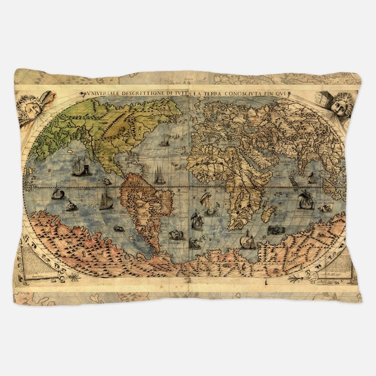 World Map Vintage Atlas Historical Pillow Case