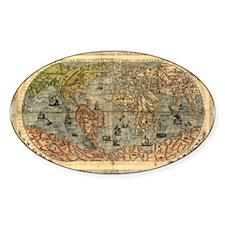 World Map Vintage Atlas Historical Decal