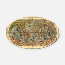World Map Vintage Atlas Historical Oval Car Magnet