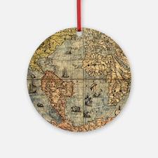 World Map Vintage Atlas Historical Ornament (Round