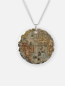 World Map Vintage Atlas Historical Necklace