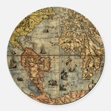 World Map Vintage Atlas Historical Round Car Magne