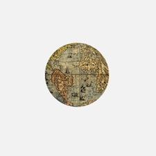 World Map Vintage Atlas Historical Mini Button