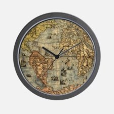 World Map Vintage Atlas Historical Wall Clock