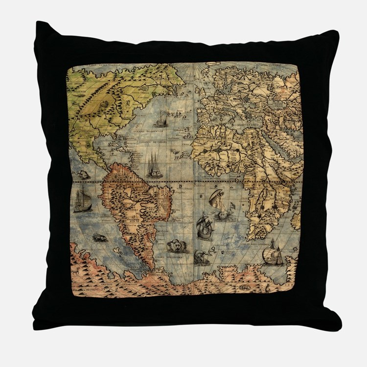 World Map Vintage Atlas Historical Throw Pillow