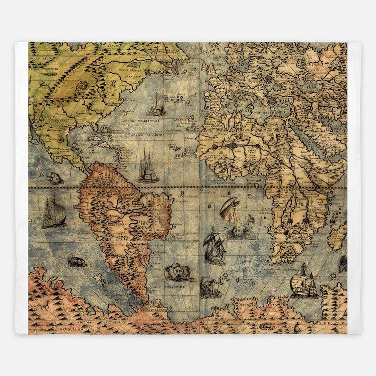 World Map Vintage Atlas Historical King Duvet