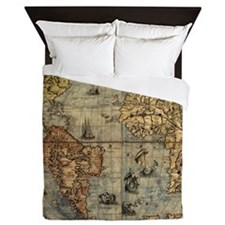 World Map Vintage Atlas Historical Queen Duvet