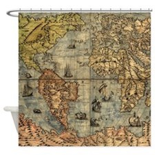 World Map Vintage Atlas Historical Shower Curtain