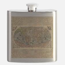 World Map Vintage Atlas Historical Flask