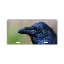 Portrait of a Raven Aluminum License Plate