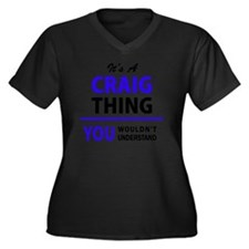 Cute Craig Women's Plus Size V-Neck Dark T-Shirt