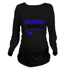 Cute Cristina Long Sleeve Maternity T-Shirt