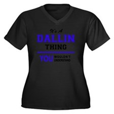 Cute Dallin Women's Plus Size V-Neck Dark T-Shirt