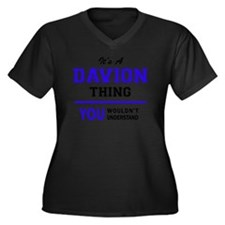 Cute Davion Women's Plus Size V-Neck Dark T-Shirt